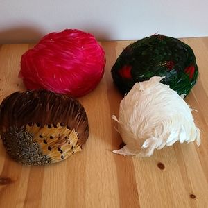 Lot of 4 Vintage Feather Hats